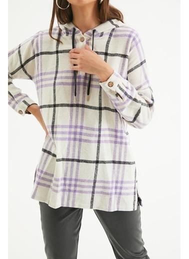 Reyon REYON Kadın Yarım düğmeli Kapüşonlu Gömlek Lila Lila